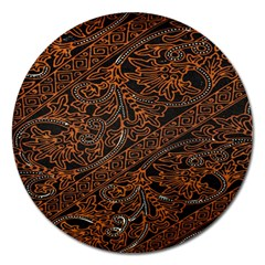Art Traditional Indonesian Batik Pattern Magnet 5  (round)
