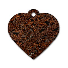 Art Traditional Indonesian Batik Pattern Dog Tag Heart (two Sides)