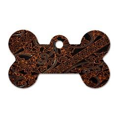 Art Traditional Indonesian Batik Pattern Dog Tag Bone (Two Sides)