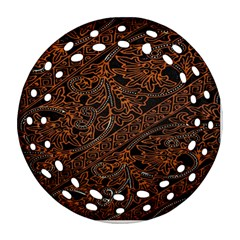 Art Traditional Indonesian Batik Pattern Round Filigree Ornament (two Sides)