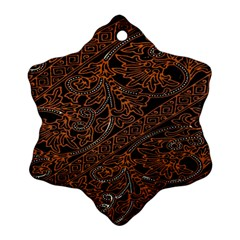 Art Traditional Indonesian Batik Pattern Snowflake Ornament (two Sides)