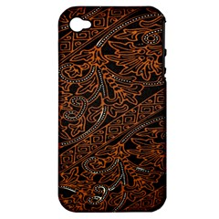 Art Traditional Indonesian Batik Pattern Apple Iphone 4/4s Hardshell Case (pc+silicone)