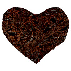 Art Traditional Indonesian Batik Pattern Large 19  Premium Flano Heart Shape Cushions