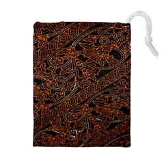 Art Traditional Indonesian Batik Pattern Drawstring Pouches (Extra Large)