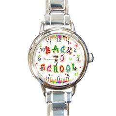 Back To School Round Italian Charm Watch