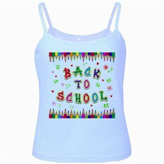 Back To School Baby Blue Spaghetti Tank