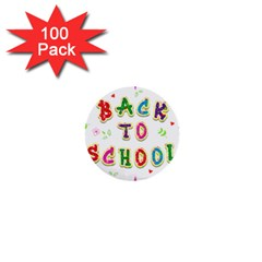 Back To School 1  Mini Buttons (100 Pack)