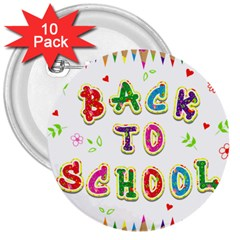 Back To School 3  Buttons (10 pack)