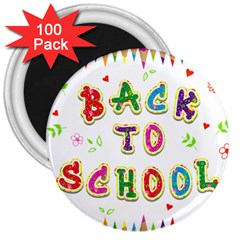 Back To School 3  Magnets (100 pack)