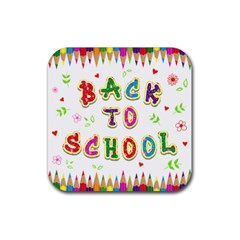 Back To School Rubber Square Coaster (4 Pack)