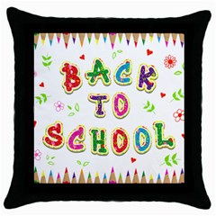 Back To School Throw Pillow Case (black)