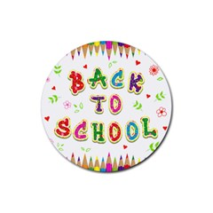 Back To School Rubber Round Coaster (4 Pack)
