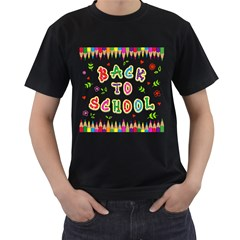 Back To School Men s T-Shirt (Black) (Two Sided)