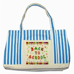Back To School Striped Blue Tote Bag