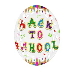 Back To School Oval Filigree Ornament (two Sides)