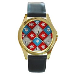 Atar Color Round Gold Metal Watch