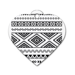 Aztec Pattern Dog Tag Heart (two Sides)