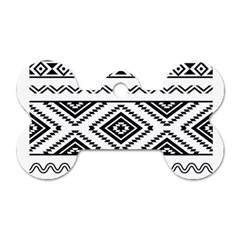 Aztec Pattern Dog Tag Bone (one Side)