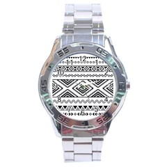 Aztec Pattern Stainless Steel Analogue Watch