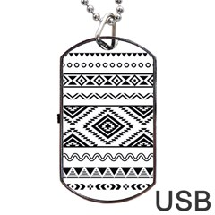 Aztec Pattern Dog Tag Usb Flash (two Sides)