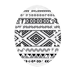 Aztec Pattern Oval Filigree Ornament (Two Sides)