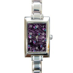 Bird Color Purple Passion Peacock Beautiful Rectangle Italian Charm Watch