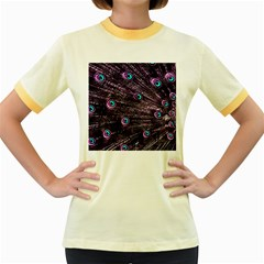 Bird Color Purple Passion Peacock Beautiful Women s Fitted Ringer T-Shirts