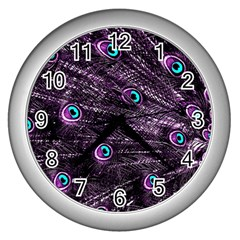 Bird Color Purple Passion Peacock Beautiful Wall Clocks (silver)