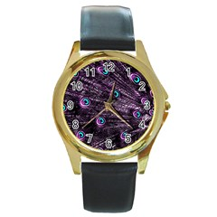 Bird Color Purple Passion Peacock Beautiful Round Gold Metal Watch