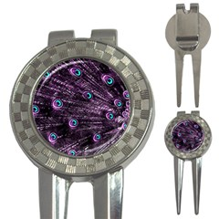Bird Color Purple Passion Peacock Beautiful 3 In 1 Golf Divots