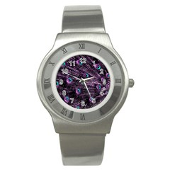 Bird Color Purple Passion Peacock Beautiful Stainless Steel Watch