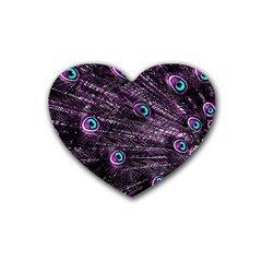 Bird Color Purple Passion Peacock Beautiful Heart Coaster (4 Pack)