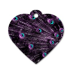 Bird Color Purple Passion Peacock Beautiful Dog Tag Heart (Two Sides)