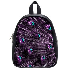 Bird Color Purple Passion Peacock Beautiful School Bags (Small)
