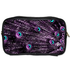 Bird Color Purple Passion Peacock Beautiful Toiletries Bags 2 Side