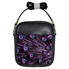 Bird Color Purple Passion Peacock Beautiful Girls Sling Bags