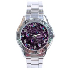 Bird Color Purple Passion Peacock Beautiful Stainless Steel Analogue Watch