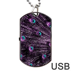 Bird Color Purple Passion Peacock Beautiful Dog Tag Usb Flash (one Side)
