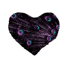 Bird Color Purple Passion Peacock Beautiful Standard 16  Premium Heart Shape Cushions