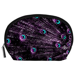 Bird Color Purple Passion Peacock Beautiful Accessory Pouches (Large)