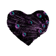 Bird Color Purple Passion Peacock Beautiful Standard 16  Premium Flano Heart Shape Cushions
