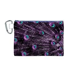 Bird Color Purple Passion Peacock Beautiful Canvas Cosmetic Bag (m)