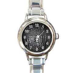Black Alligator Leather Round Italian Charm Watch