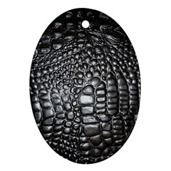 Black Alligator Leather Ornament (oval)