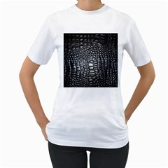 Black Alligator Leather Women s T Shirt (white) (two Sided)