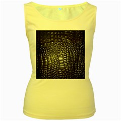 Black Alligator Leather Women s Yellow Tank Top