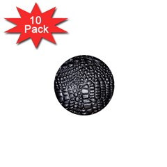 Black Alligator Leather 1  Mini Buttons (10 Pack)