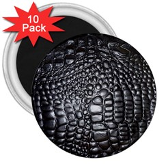 Black Alligator Leather 3  Magnets (10 Pack)