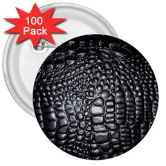 Black Alligator Leather 3  Buttons (100 pack)