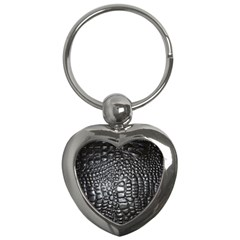 Black Alligator Leather Key Chains (heart)